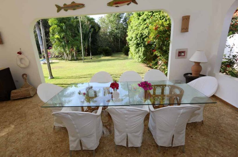 View of garden from terrace dining area