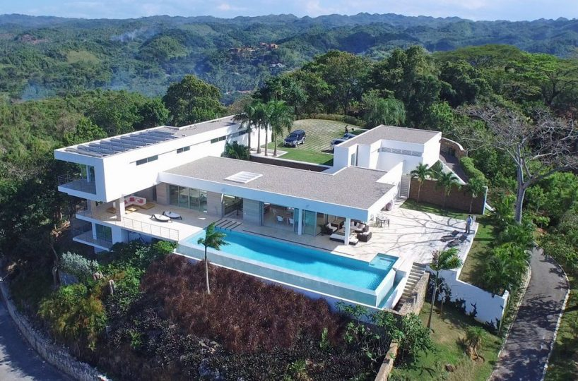 Rear View - Aerial view of the rear of the villa and pool