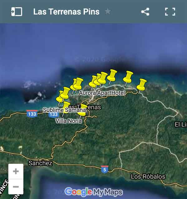 Las Terrenas Map Pins
