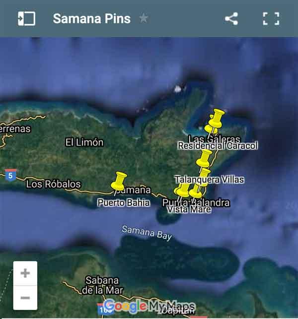 Samana Map Pins